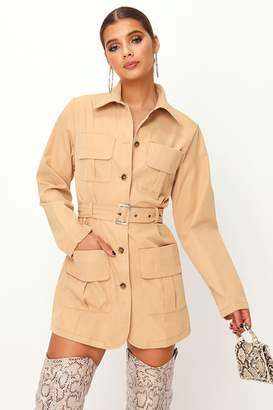 I SAW IT FIRST Brown Belted Utility Dress