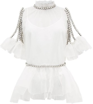 Christopher Kane Cupcake Crystal-chain Silk-organza Top And Garter - White