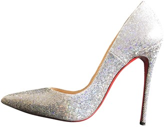 Christian Louboutin So Kate Silver Glitter Heels