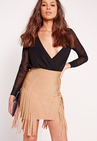 Missguided Premium Panel Bandage Mini Skirt Camel