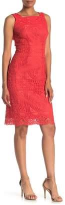 London Times Square Neck Lace Sheath Dress