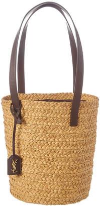 Saint Laurent Small Panier Woven Raffia & Leather Bucket Bag