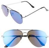 Leith Women's Trve 60Mm Aviator Sunglasses - Silver/ Blue
