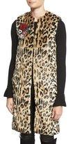 Alice + Olivia Jade Leopard-Print Faux-Fur Vest w/Floral Pins