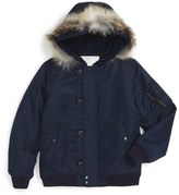 Burberry Boy's Mini Barkston Hooded Bomber Jacket With Genuine Fox Fur Trim