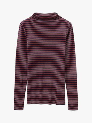 Toast Stripe Wool Tencel T-Shirt, Cherry Red/Denim