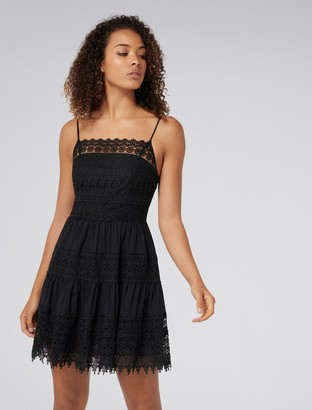 Forever New Reece Lace Detail Dress - Black - 4