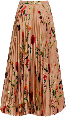 Valentino Pleated Floral Silk Maxi Skirt