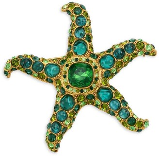 Kenneth Jay Lane 22K Goldplated & Two-Tone Glass Stone Starfish Brooch