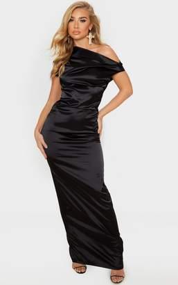 PrettyLittleThing Purple Off Shoulder Pleat Detail Satin Maxi Dress