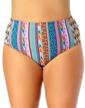 California Waves Trendy Plus Size High Waist Bikini Bottoms Women's Swimsuit