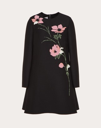 Valentino Embroidered Crepe Couture Dress Women Black Virgin Wool 65%, Silk 35% 36