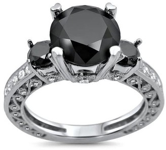 Overstock 18k White Gold 3 1/2ct TDW Black 3-stone Certified Diamond Engagement Ring