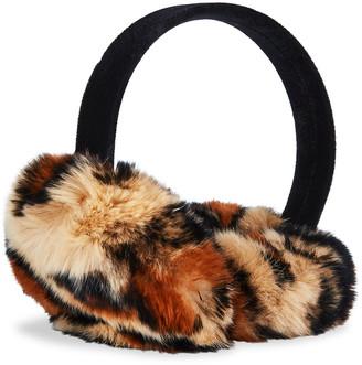Surell Accessories Rabbit Fur Earmuffs on Velvet Band
