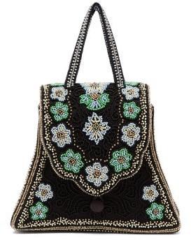 Shrimps Casey Floral-beaded Satin Handbag - Black