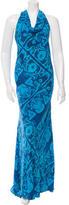 Vera Wang Silk Printed Maxi Dress