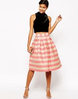 Asos Midi Prom Skirt in Pink and Nude Stripe