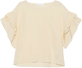 Chloé Ruffled Sleeve Crop Top