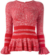 Alexander McQueen peplum knitted top - women - Silk/Polyamide/Spandex/Elastane/Wool - M