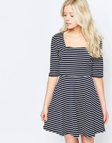 Sugarhill Boutique Marcia Skater Dress In Stripe