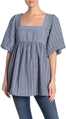 Free People Gigi Striped Puff Sleeve Tunic Top