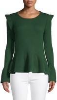 Qi Ruffle-Trim Cashmere Peplum Sweater