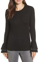 Halogen Petite Women's Metallic Trim Flare Cuff Sweater
