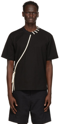 Craig Green Black and Off-White Laced T-Shirt