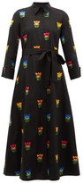 Carolina Herrera Floral-embroidered Belted Cotton-poplin Shirtdress - Womens - Black Multi