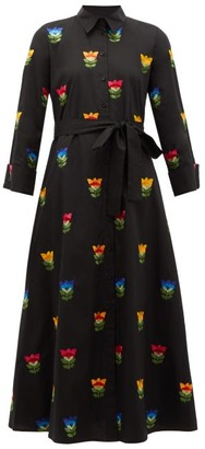 Carolina Herrera Floral-embroidered Cotton-poplin Shirt Dress - Black Multi
