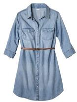 Merona Women's Plus-Size Long-Sleeve Denim Dress - Blue