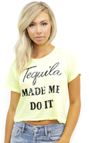 Wildfox Couture Tequila Hour Middie Tee in Neon Sign Yellow