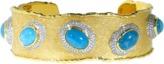 VICTOR VELYAN Cabochon Paraiba And Diamond Cuff Bracelet