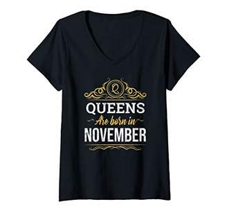 Womens This Queen Was Born On November Birthday Gift for Her & Wife V-Neck T-Shirt