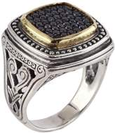 Konstantino Women's Asteri Square Black Diamond, 18K Yellow Gold and Sterling Silver Ring