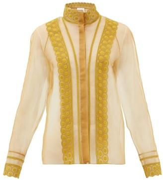 Chloé High-neck Embroidered Silk-organza Blouse - Brown