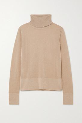 Altuzarra Lexia Metallic Knitted Turtleneck Sweater - Beige