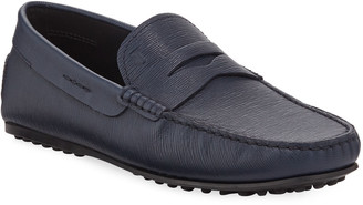 Tod's Men's Mocassino Textured Leather Drivers