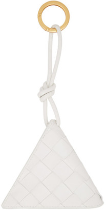 Bottega Veneta White Intrecciato Triangle Keychain