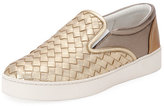 Bottega Veneta Intrecciato Leather Skate Sneaker, Gray