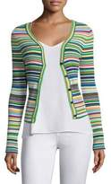 Milly Ribbed Micro-Stripe Cardigan