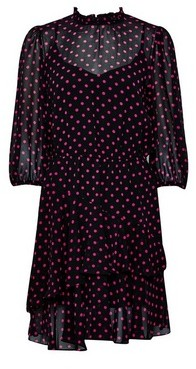 Dorothy Perkins Womens Pink Spot Print Ruffle Fit And Flare Dress