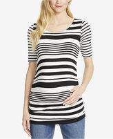 Jessica Simpson Maternity Striped Elbow-Sleeve Top