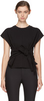 Alexander Wang Black Short Sleeve Wrap Front Sweatshirt
