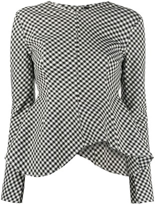 A.W.A.K.E. Mode Asymmetric Check Blouse