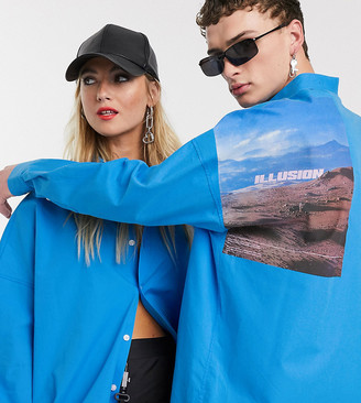 Collusion Unisex shirt with back print in blue