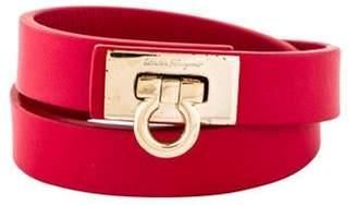 Salvatore Ferragamo Leather Gancini Double Wrap Bracelet gold Leather Gancini Double Wrap Bracelet