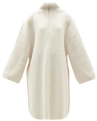 Totême Oversized Zip-neck Ribbed Wool-blend Sweater - Cream