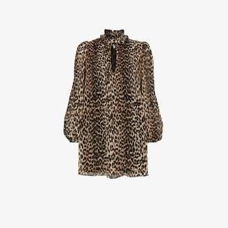 Ganni Womens Multicolour Leopard Print Floaty Mini Dress