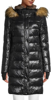 S13 Uptown Faux Fur-Trim Down Puffer Coat